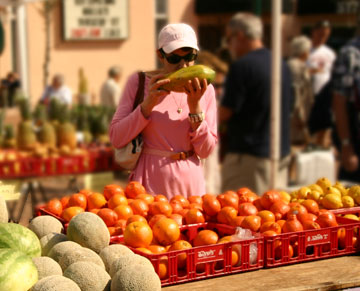 Mirabai Holland Picking Organic Foods at the Sarasota Farmer's Market